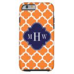 Pumpkin White Moroccan #5 Navy 3 Initial Monogram Tough iPhone 6 Case