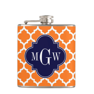 Pumpkin White Moroccan #5 Navy 3 Initial Monogram Hip Flask