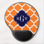 Pumpkin White Moroccan #5 Navy 3 Initial Monogram Gel Mouse Pad