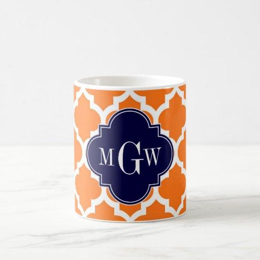 Pumpkin White Moroccan #5 Navy 3 Initial Monogram Coffee Mug