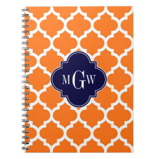 Pumpkin White Moroccan #5 Navy 3 Initial Monogram Spiral Notebook