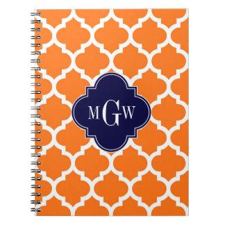 Pumpkin White Moroccan #5 Navy 3 Initial Monogram Spiral Notebook