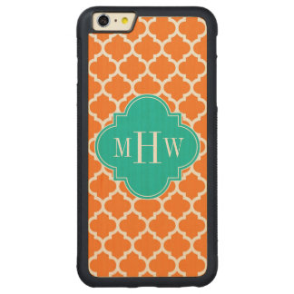 Pumpkin White Moroccan #5 Teal 3 Initial Monogram Carved Maple iPhone 6 Plus Bumper Case