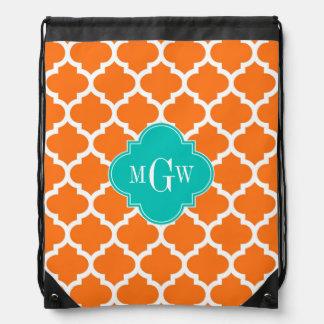 Pumpkin White Moroccan #5 Teal 3 Initial Monogram Drawstring Backpack