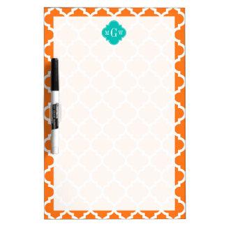 Pumpkin White Moroccan #5 Teal 3 Initial Monogram Dry-Erase Board