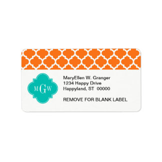 Pumpkin White Moroccan #5 Teal 3 Initial Monogram Personalized Address Label