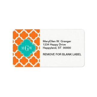Pumpkin White Moroccan #5 Teal 3 Initial Monogram Address Label