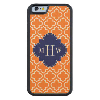 Pumpkin White Moroccan #6 Navy 3 Initial Monogram Carved Maple iPhone 6 Bumper Case
