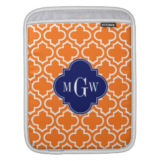 Pumpkin White Moroccan #6 Navy 3 Initial Monogram iPad Sleeve
