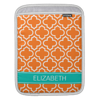 Pumpkin White Moroccan #6 Teal Name Monogram iPad Sleeve