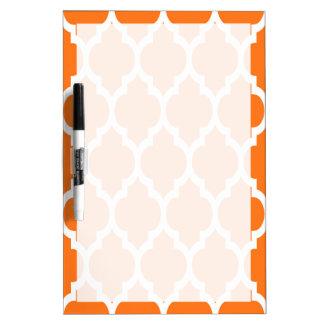 Pumpkin White Moroccan Quatrefoil Pattern #4 Dry-Erase Whiteboard
