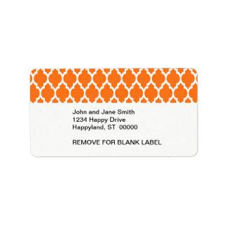 Pumpkin White Moroccan Quatrefoil Pattern #4 Personalized Address Labels