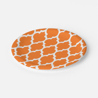 Pumpkin White Moroccan Quatrefoil Pattern #4 7 Inch Paper Plate