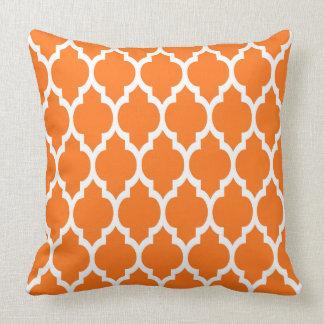 Pumpkin White Moroccan Quatrefoil Pattern #4 Throw Pillow