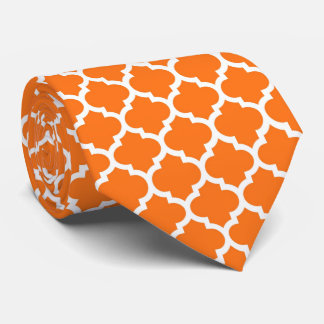Pumpkin White Moroccan Quatrefoil Pattern #5 Neck Tie