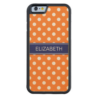 Pumpkin White Polka Dots #2 Navy Name Monogram Carved Maple iPhone 6 Bumper Case
