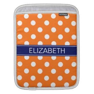 Pumpkin White Polka Dots #2 Navy Name Monogram Sleeve For iPads