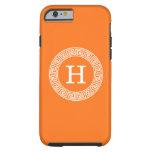 Pumpkin Wht Greek Key Rnd Frame Initial Monogram Tough iPhone 6 Case