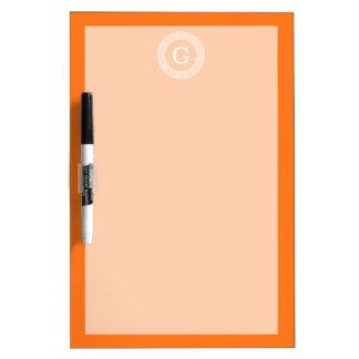 Pumpkin Wht Greek Key Rnd Frame Initial Monogram Dry Erase White Board