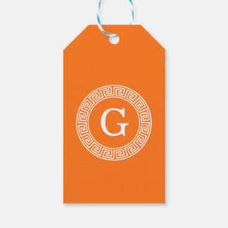 Pumpkin Wht Greek Key Rnd Frame Initial Monogram Gift Tags