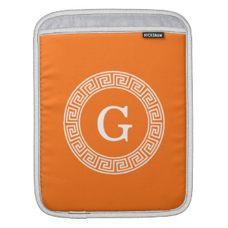 Pumpkin Wht Greek Key Rnd Frame Initial Monogram iPad Sleeve