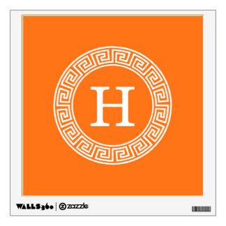 Pumpkin Wht Greek Key Rnd Frame Initial Monogram Wall Sticker