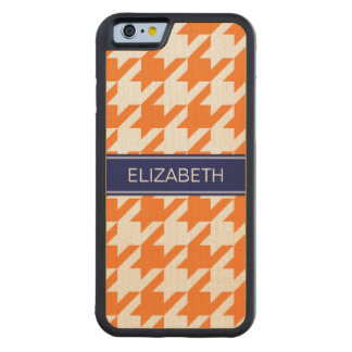 Pumpkin Wht Houndstooth #1 Navy Name Monogram Carved Maple iPhone 6 Bumper Case