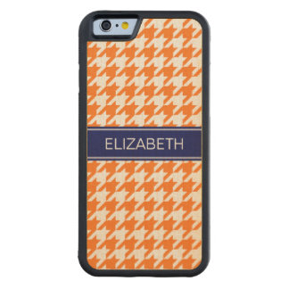 Pumpkin Wht Houndstooth #2 Navy Name Monogram Carved Maple iPhone 6 Bumper Case