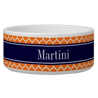 Pumpkin Wht Moroccan #5 Navy Blue Name Monogram Bowl