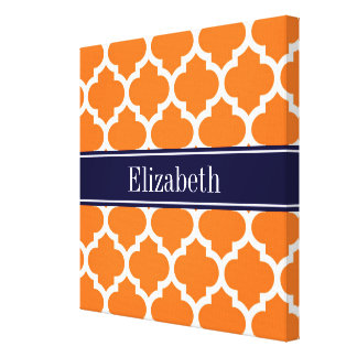 Pumpkin Wht Moroccan #5 Navy Blue Name Monogram Canvas Print