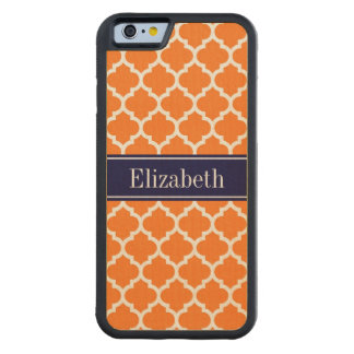 Pumpkin Wht Moroccan #5 Navy Blue Name Monogram Carved Maple iPhone 6 Bumper Case