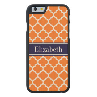 Pumpkin Wht Moroccan #5 Navy Blue Name Monogram Carved Maple iPhone 6 Case