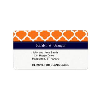 Pumpkin Wht Moroccan #5 Navy Blue Name Monogram Custom Address Labels