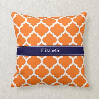 Pumpkin Wht Moroccan #5 Navy Blue Name Monogram Pillow