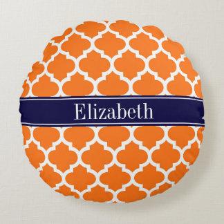 Pumpkin Wht Moroccan #5 Navy Blue Name Monogram Round Pillow