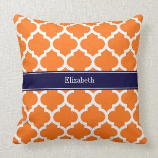 Pumpkin Wht Moroccan #5 Navy Blue Name Monogram Throw Pillow
