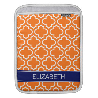 Pumpkin Wht Moroccan #6 Navy Blue Name Monogram Sleeve For iPads
