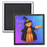 Pumpkin Witch 2 Inch Square Magnet