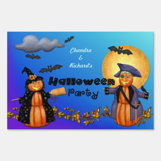 Pumpkin Witch and Pirate Halloween Party Sign