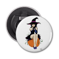 Pumpkin Witch Button Bottle Opener