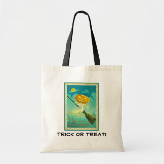Pumpkin Witch on Broom Trick or Treat Canvas Tote Tote Bags