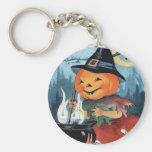 Pumpkin Witch Vintage Halloween Keychain