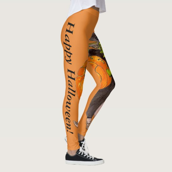 Pumpkin Witch Warlock Halloween Dance Fancy Scary Leggings