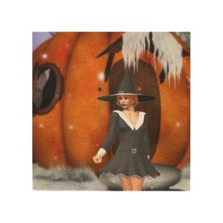 Pumpkin Witch Wood Wall Art