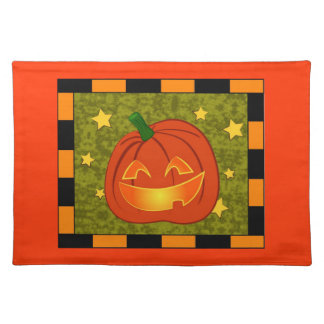 Pumpkin with black and orange border placemat