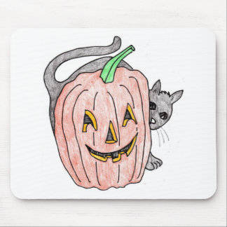 pumpkin with black cat mouse pad