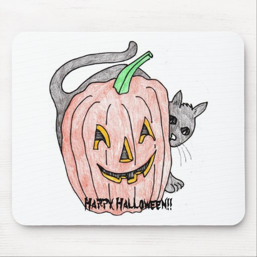 pumpkin with black cat(mouse pad) mouse pad