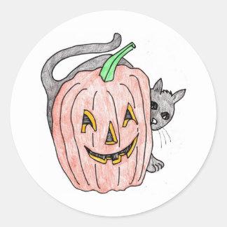 pumpkin with black cat classic round sticker