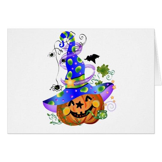 Pumpkin With Blue Hat Card