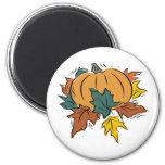 Pumpkin With Fall Leaves Fridge Magnet